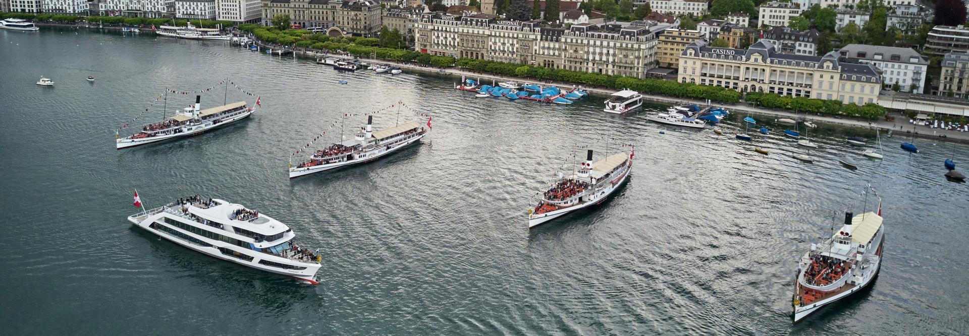 Une partie de la flotte de la Société de navigation du lac des Quatre-Cantons (SGV) AG.