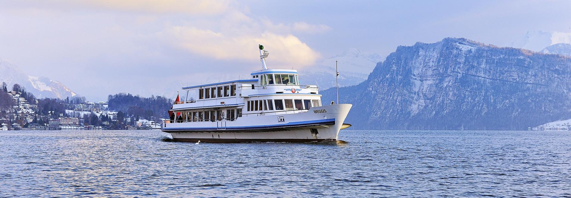 Motor ship on Lake Lucerne in winter.