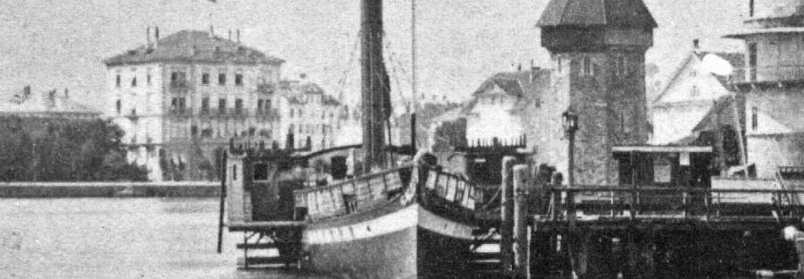 Nostalgisches Bild eines Dampfschiffes auf dem Vierwaldstättersee.